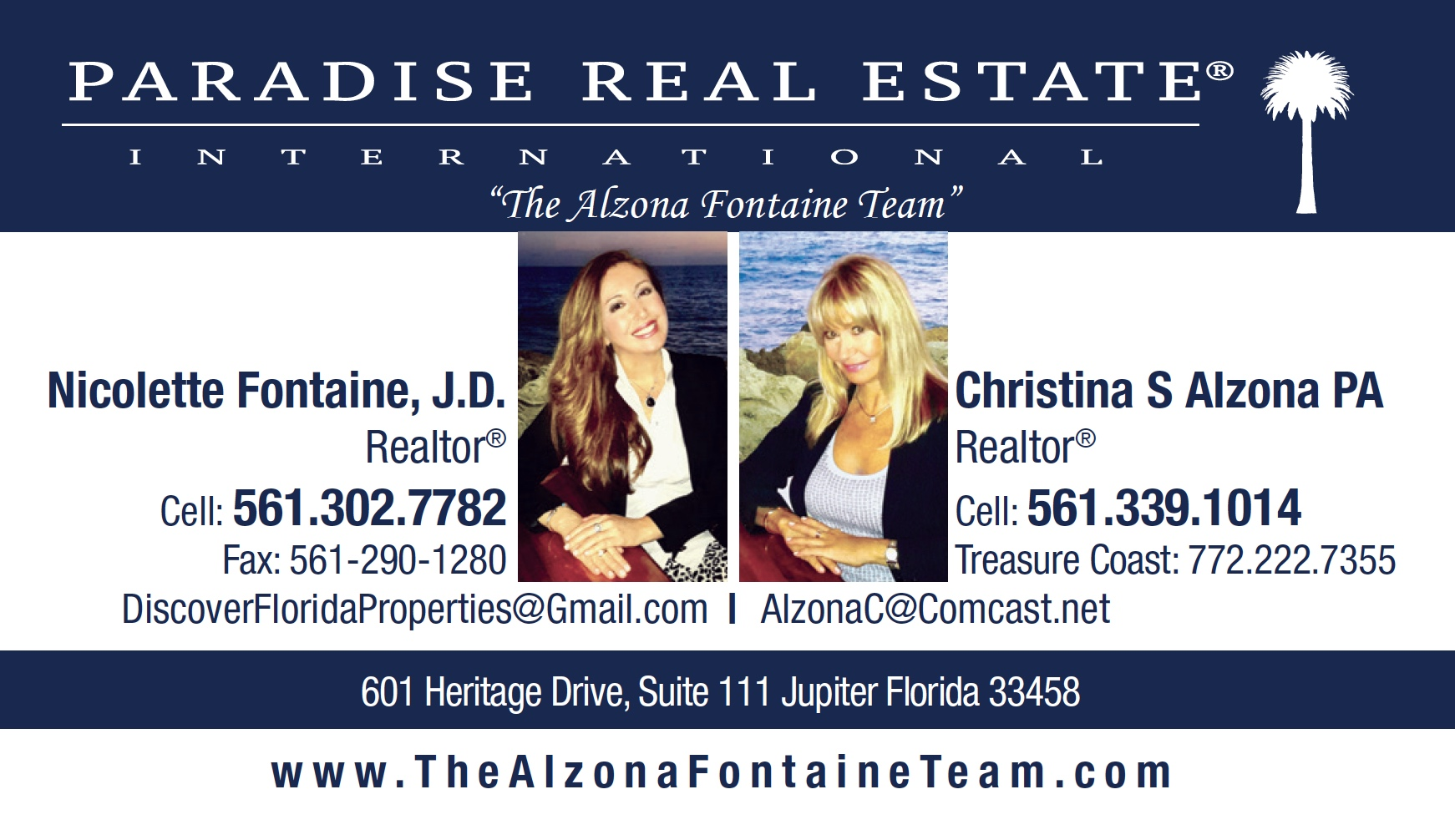 Paradise Alzona Fontaine Team Realtors Palm Beach County